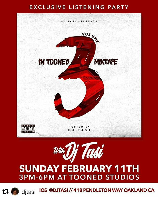 "#Repost @djtasi (@get_repost) ・・・ Tomorrow my @toonedstudios family and I are having a listening party for our ""In Tooned vol 3"" mixtape hosted and mixed by me. Our ""In Tooned"" projects showcase music recorded at the lab by @barzmakesbangers or @karina.flonnoy. Pull up and hear what we've been working on."