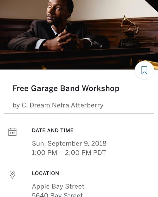 FREE #garageband #workshop Sept 9th 2018 Must register through me or at #eventbrite .com Great opportunity to learn about #musicproduction and #audioengineering .