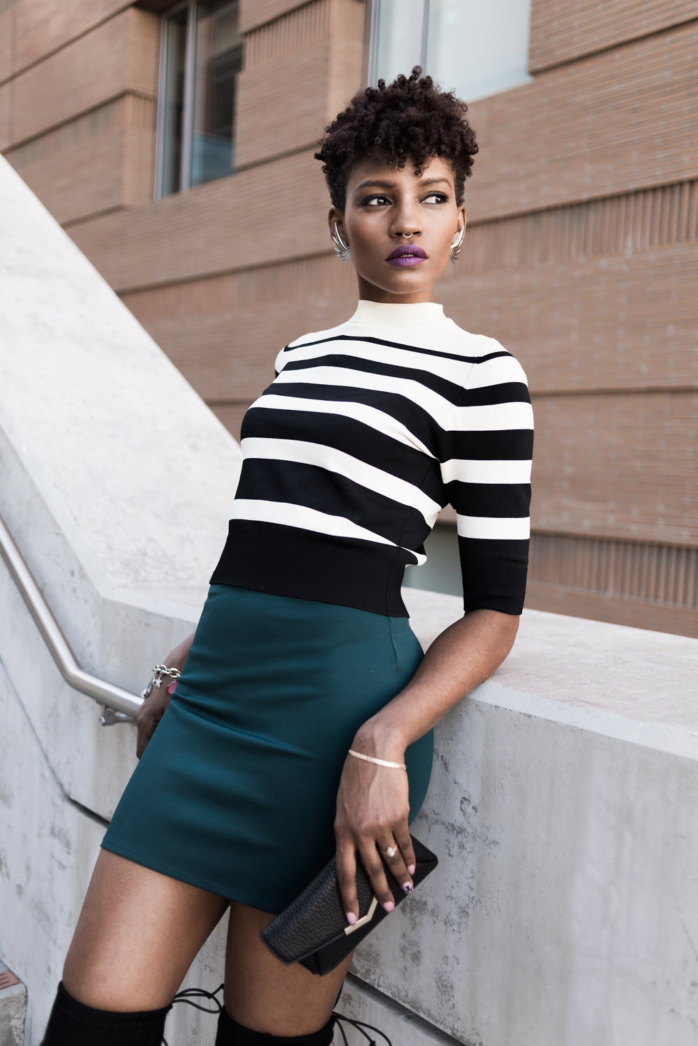 High Contrast  - Subtle Color + Bold Stripes + Statement Earrings = Flyness