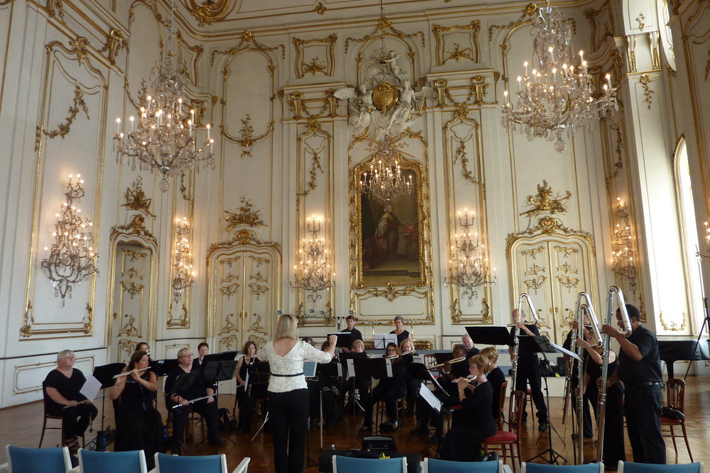 Metropolitan Flute Orchestra sound check before concert in the Palace of the Archbishop's in Kromeriz, Czech Republic
