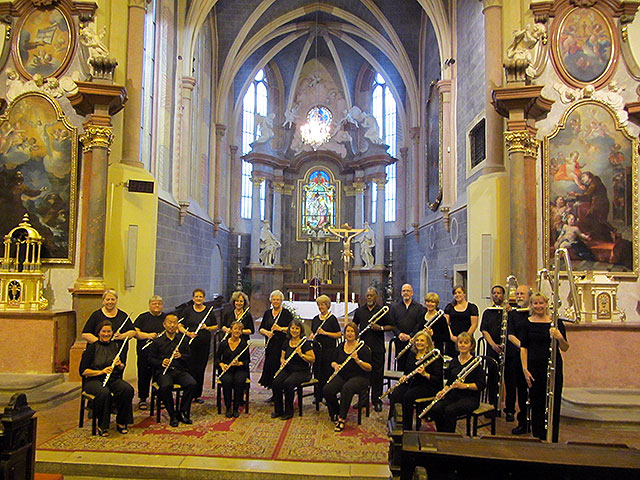 Metropolitan Flute Orchestra in concert at the Franciscan Church in the old city center of Bratislava, Slovakia