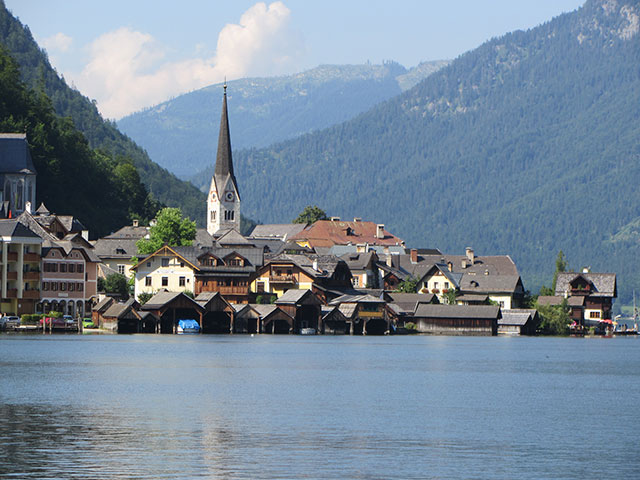 Picturesque Hallstatt, Austria, with steeple of the Evangelican Christus Church, our concert venue