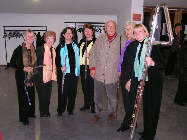 While in France, the Florida Flute Orchestra visited the Conservatoire National de Region in Dijon.  There they performed with one of France's top flute ensembles, Flutes Ad Libitum, directed by Martine Charlot.  The Florida Flute Orchestra hosted Flutes Ad Libitum during their Florida concert tour in April of 2006.  One of the highlights of the French tour was in the Provencal perched village of Tourettes-sur-Loup.  The great grandson of famous French composer Jules Massenet, Frederic Failliot-Massenet, was in the audience.  We happened to be playing some ballet dances from Massesnet's opera Manon.  He came up after our performance and thanked us for playing so beautifully the music of his great grandfather.