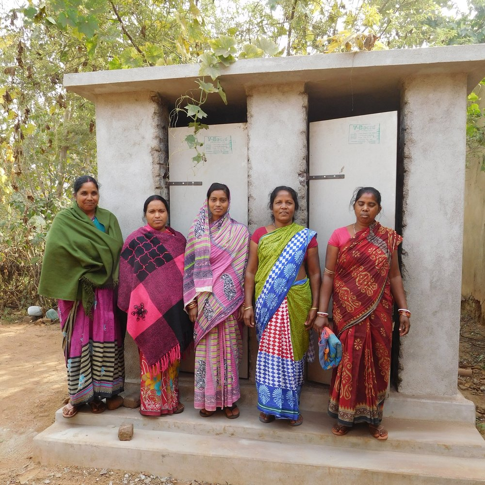 Dual toilet and bathing room constructed in the village of Lahanda.