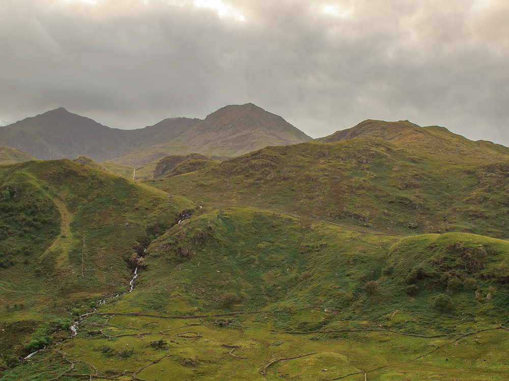 Another image of Snowdon looking moody, what I like about this image is the stone walled enclosures in the foreground.