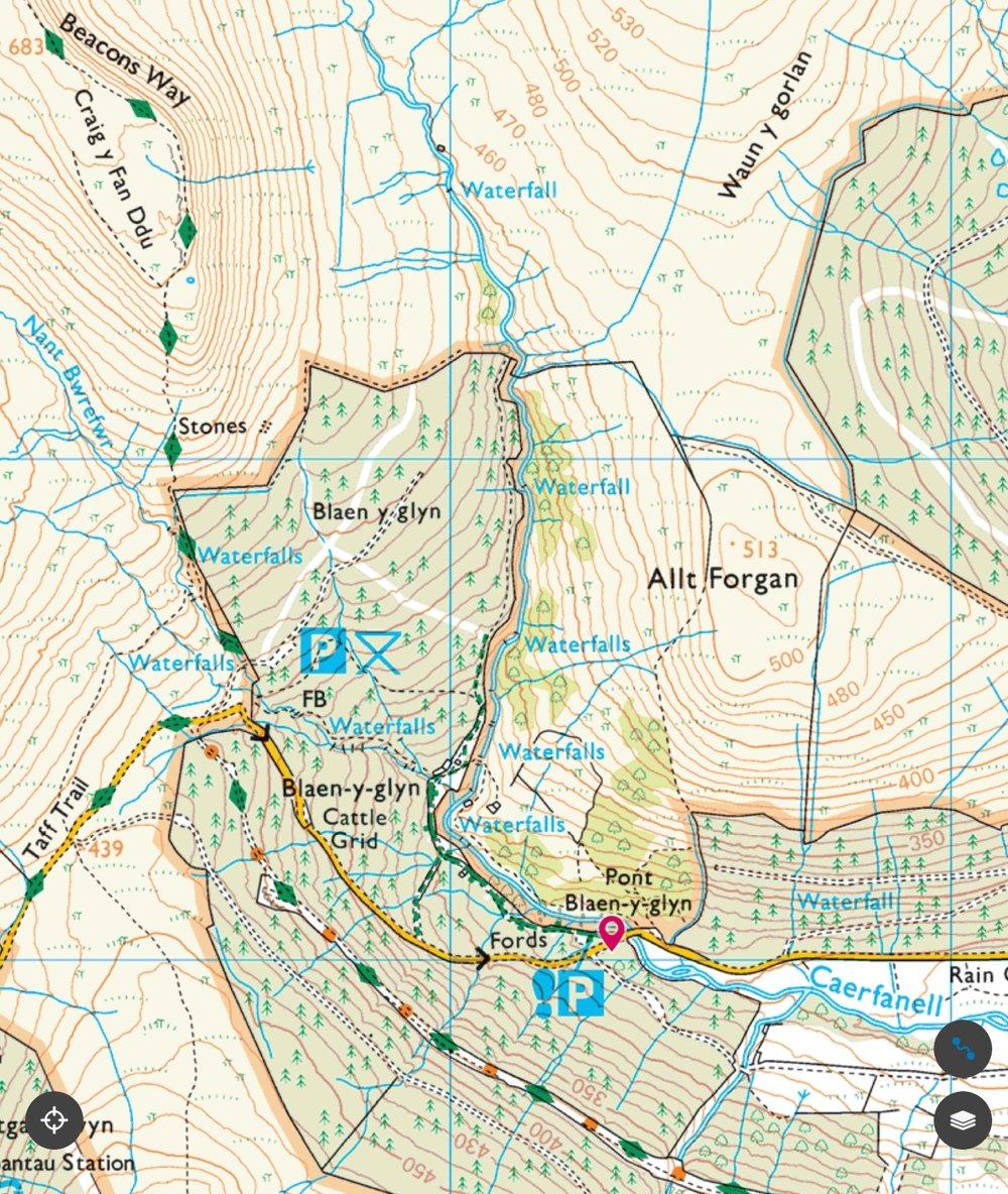 O/S map of Blaen-y-glyn