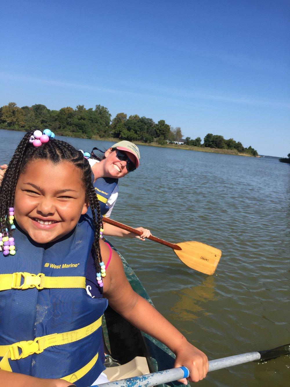 Elle and student in canoe.JPG
