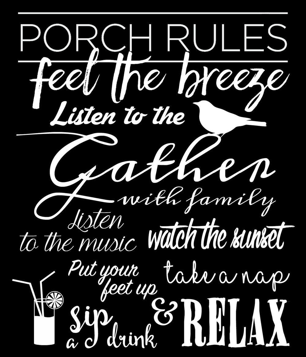 Family Rules // Porch Rules // 18x21 // $65