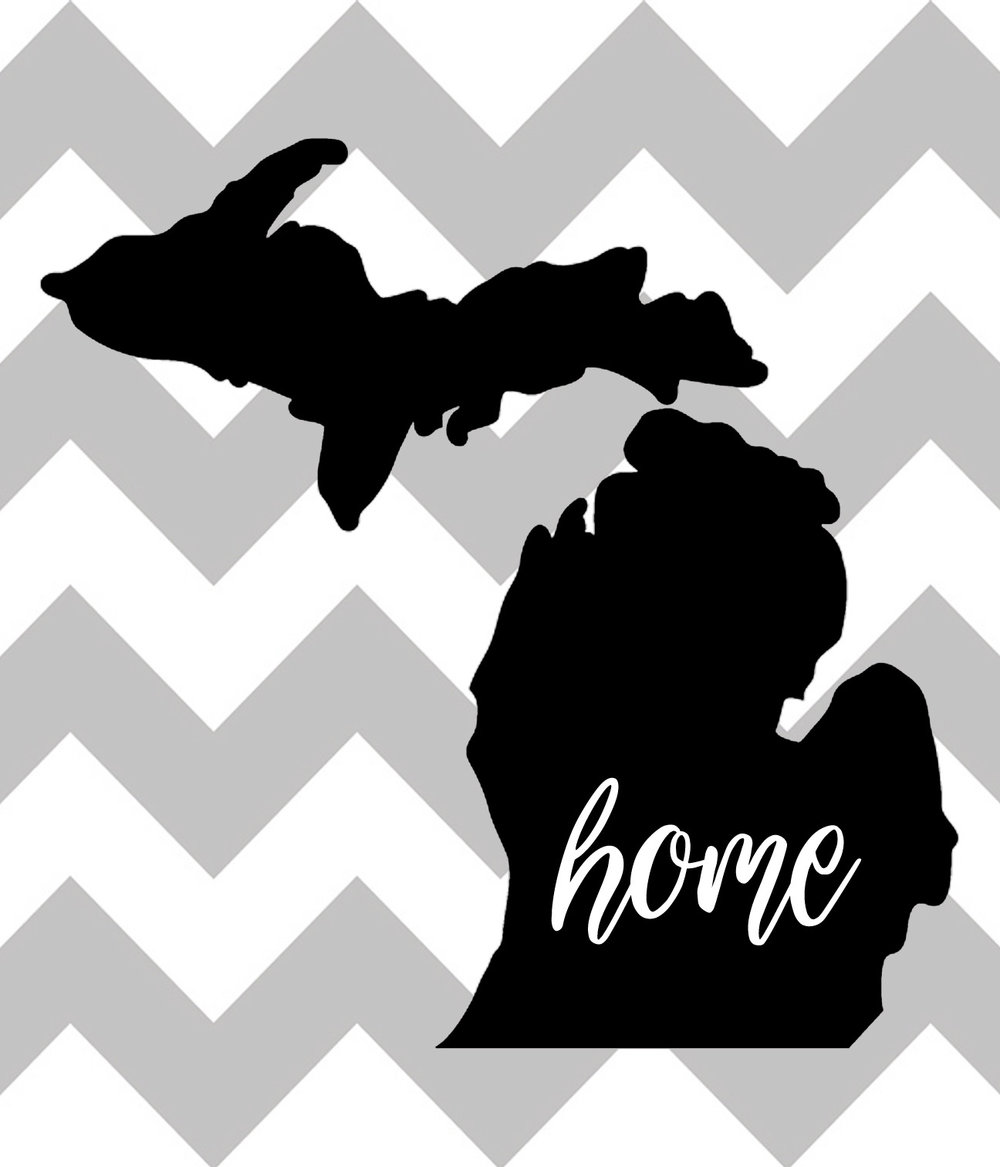 Home // Michigan Home Chevron // 18x21 // $75