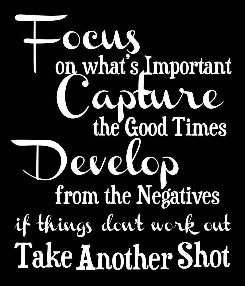 Inspiration // Focus-Capture-Develop // 18x21 // $65