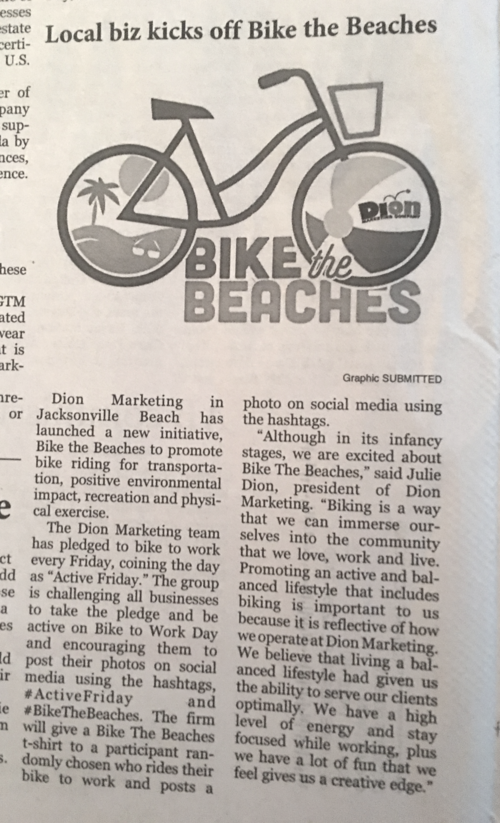 Beaches Leader features Dion Marketing's Bike the Beaches