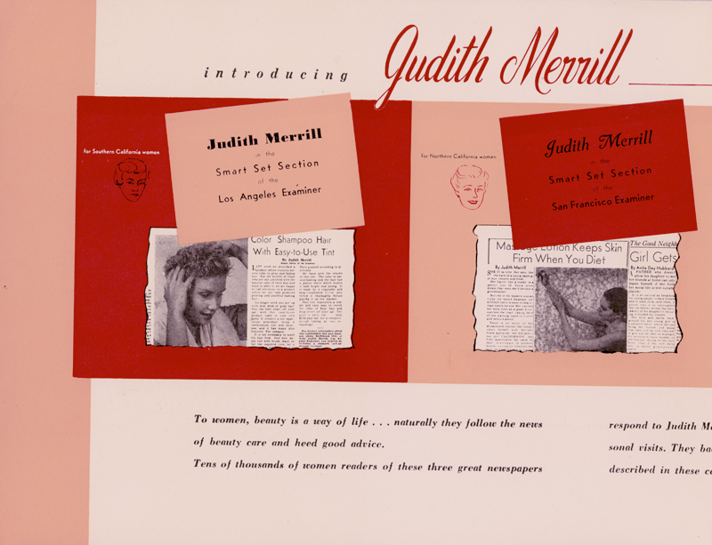 "Print piece Marilyn designed for Judith Miller, ""beauty consultant to a million and a half Pacific Coast women."""