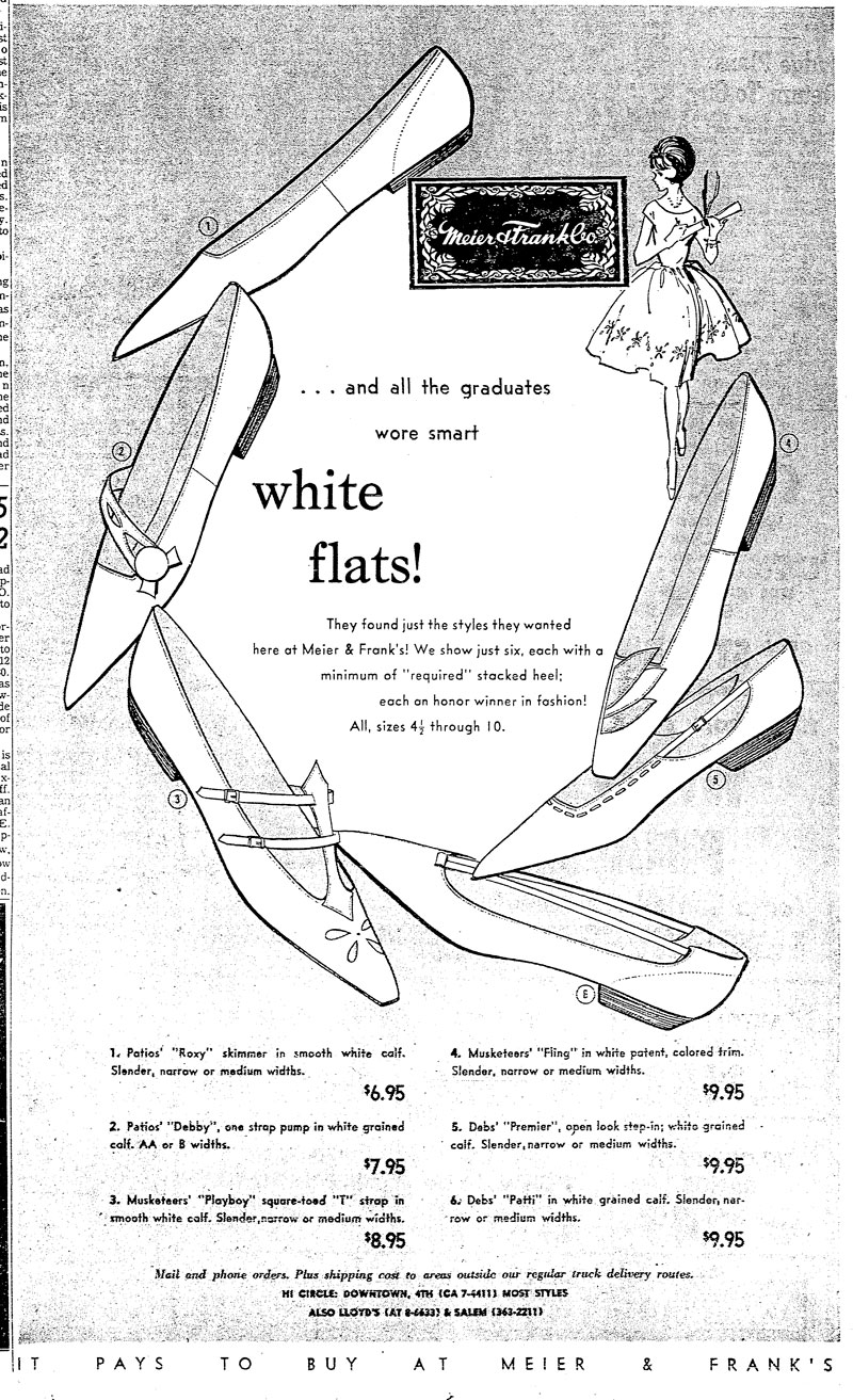 This ad for Meier & Frank was designed during the period Marilyn was employed. While I cannot verify that this was her hand, with her reputation for shoe illustration, it seems likely that it was.