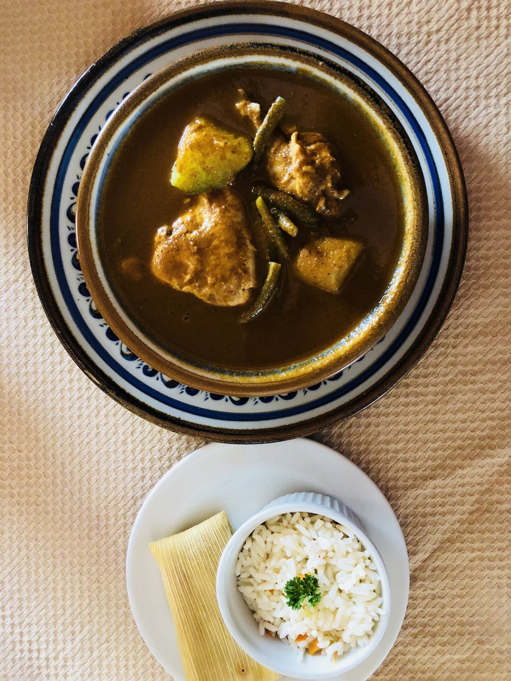 Chicken Pepian: Chicken in spicy pumpkin and sesame sauce, the national dish of Guatemala
