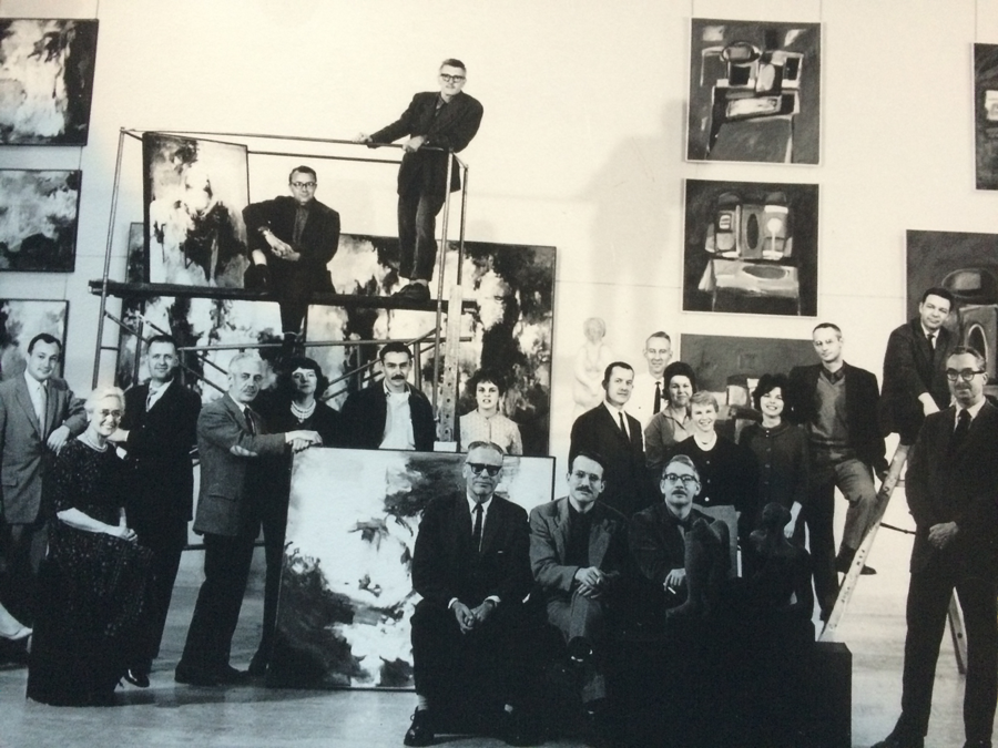 1962 Staff of the Museum Art School (now PNCA). Byron in center in front of statue.