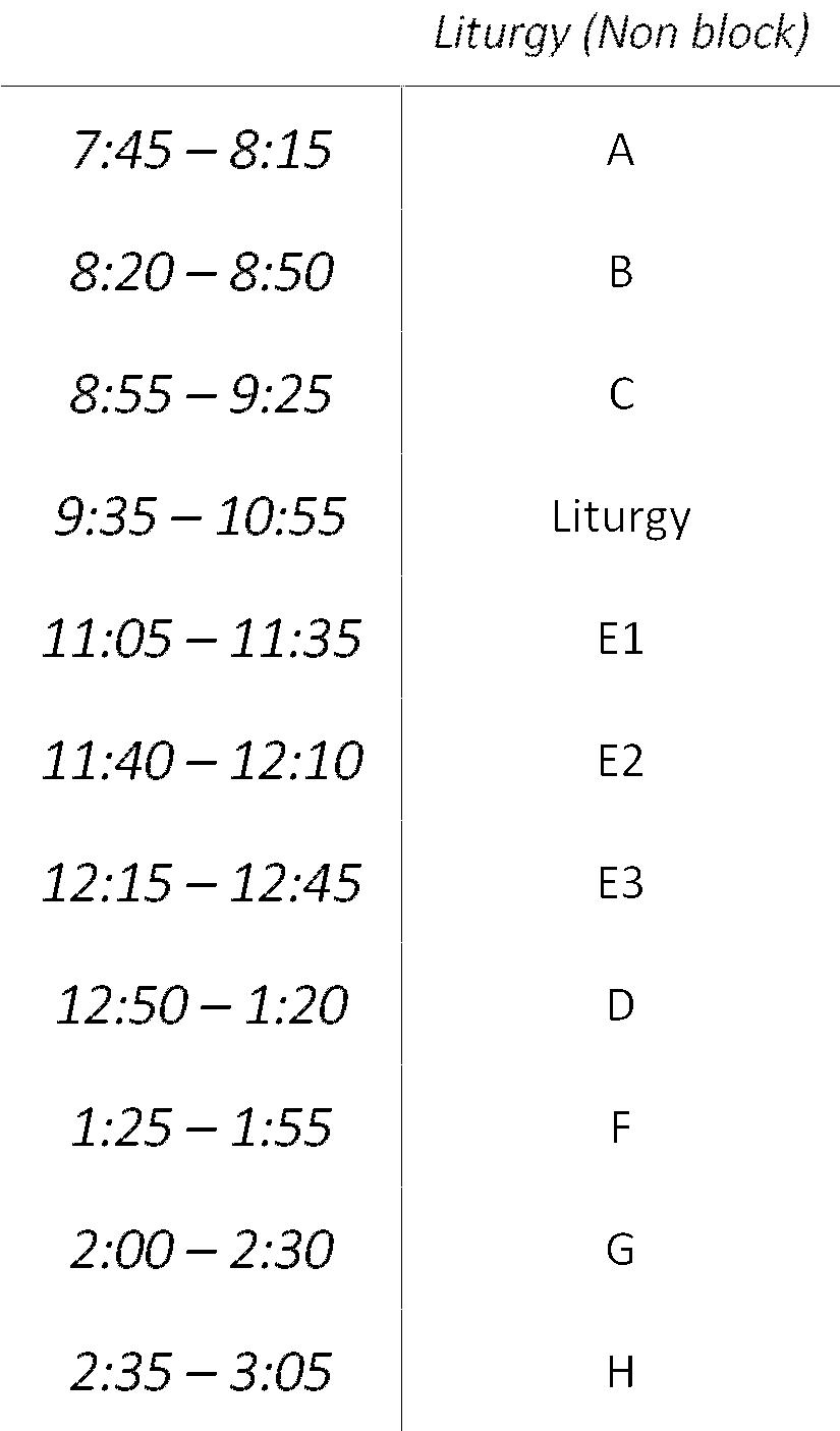 Liturgy (Non-Block Schedule)