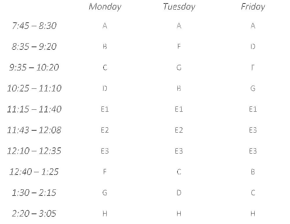 Regular Schedule (M, T, F)