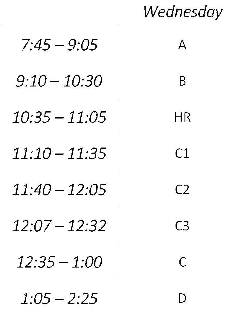 Wednesday (Block Schedule)