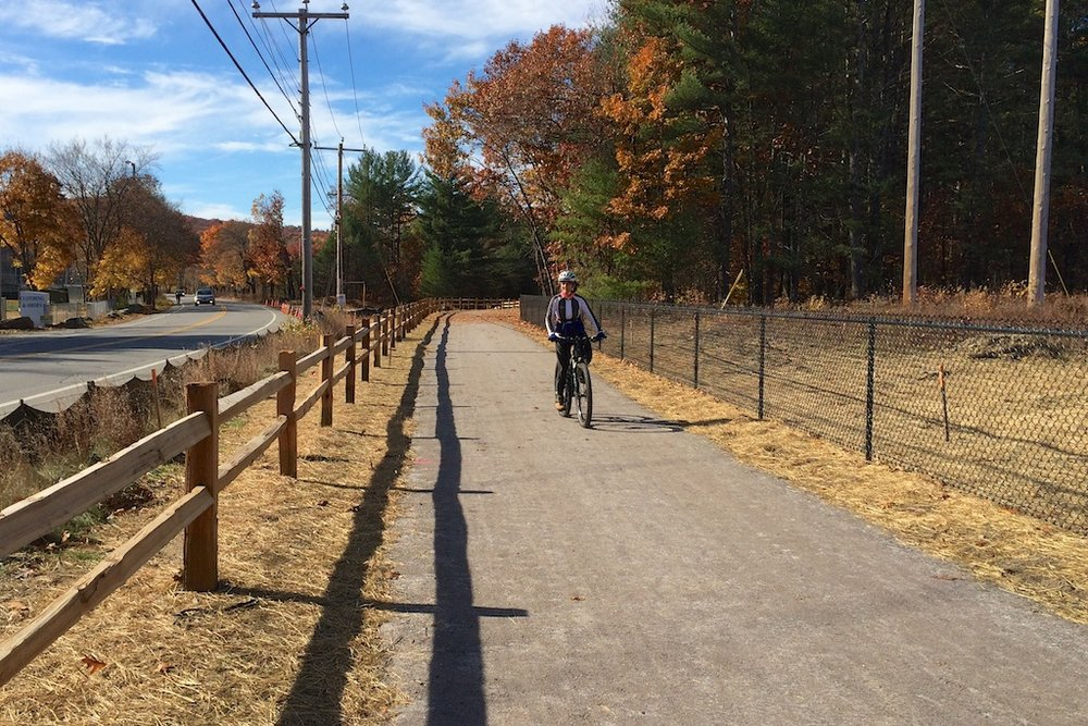 Riding east from the new trailhead parking