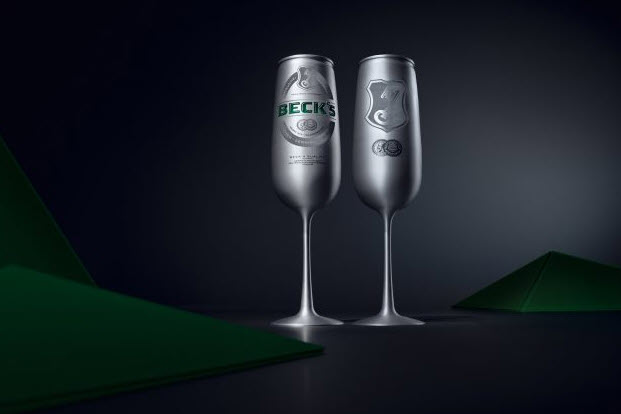 """Le Beck's brushed aluminum cans with laser and analogue engravings forming the beer label have been trialed in art galleries, classical music concerts and other """"exclusive"""" events in Germany. Beck's is now considering launching the beer flutes globally"""