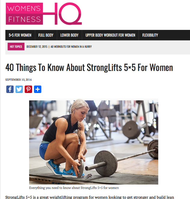 Resource #1 - Women's Fitness HQ- Read about how to get started with 5x5 for Women. Article includes 40 things to know including how to handle the unwanted