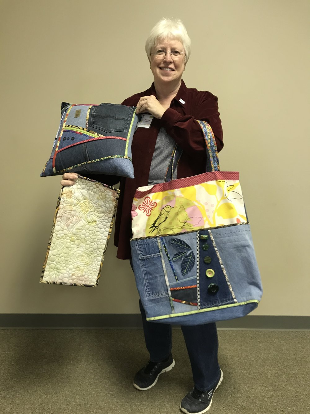 Martha S. has been busy making bags and pillows with denim