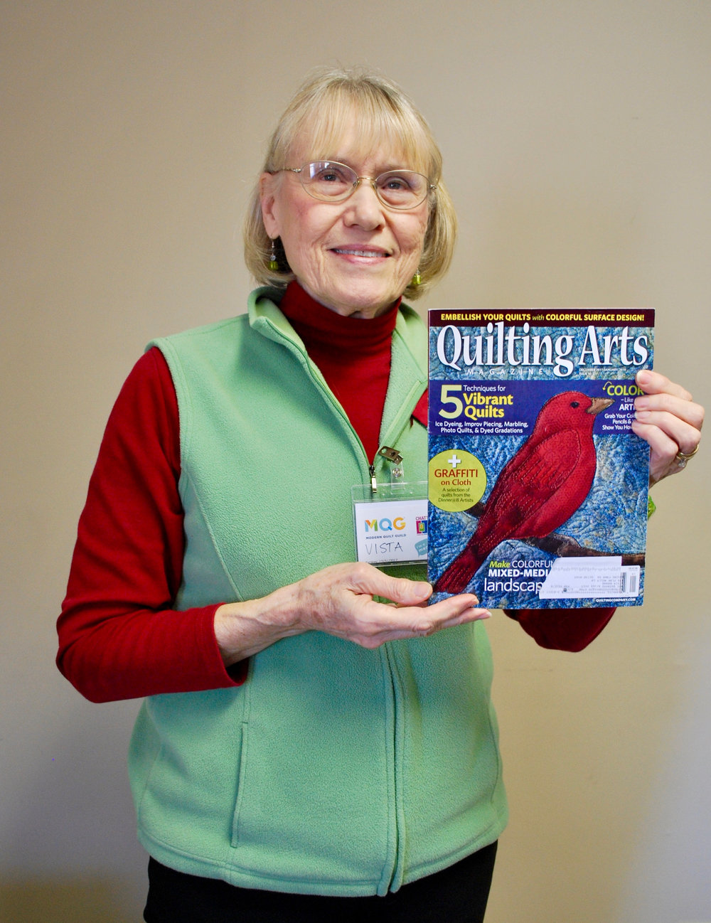"Vista's work was featured in a recent issue of ""Quilting Arts Magazine"""