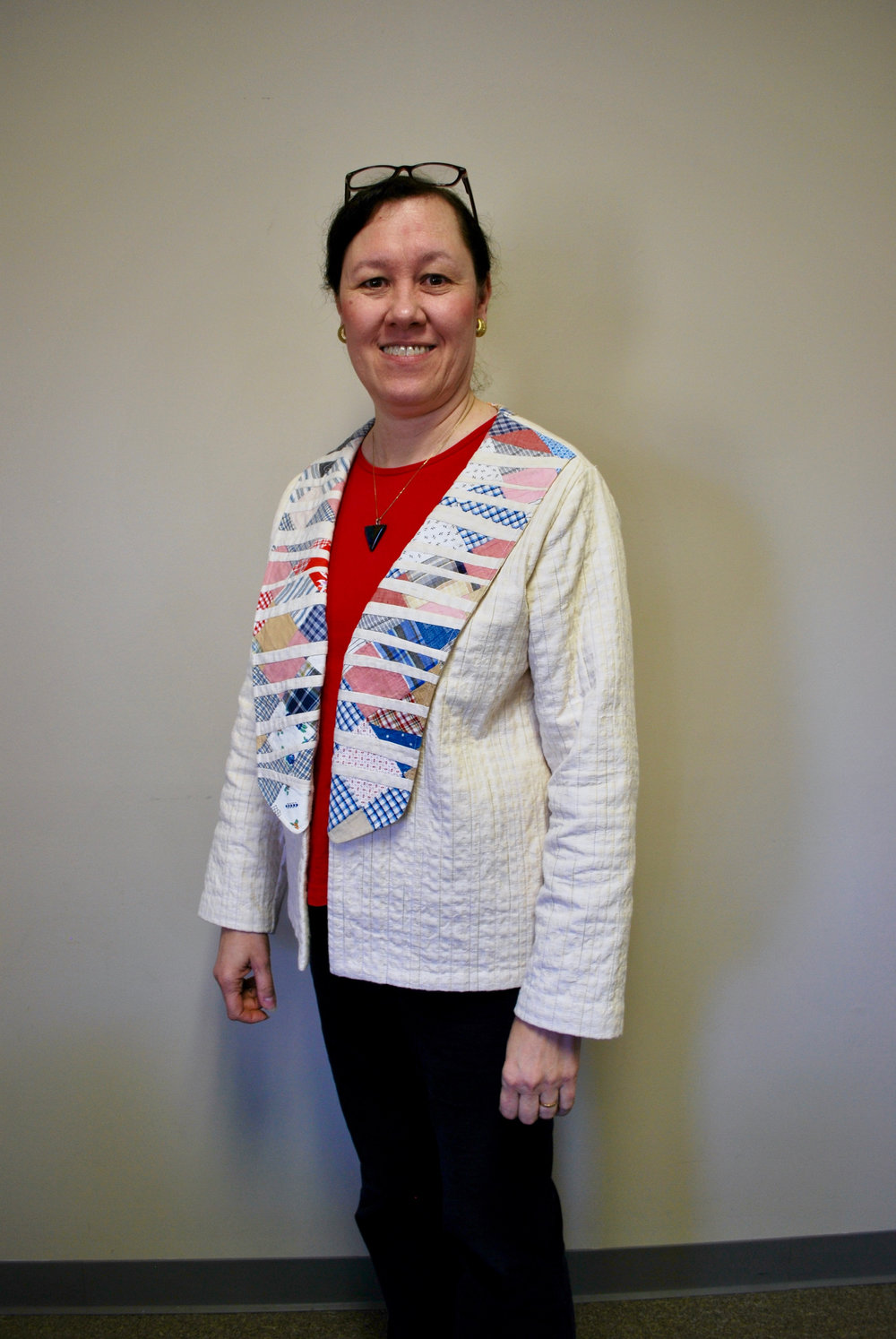 Veronica cut up old quilt blocks and incorporated them into a jacket