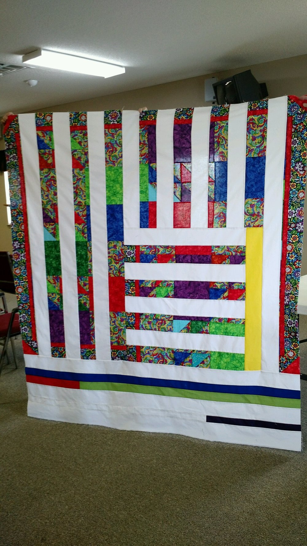 The remix quilt was assembled during our July sew-in