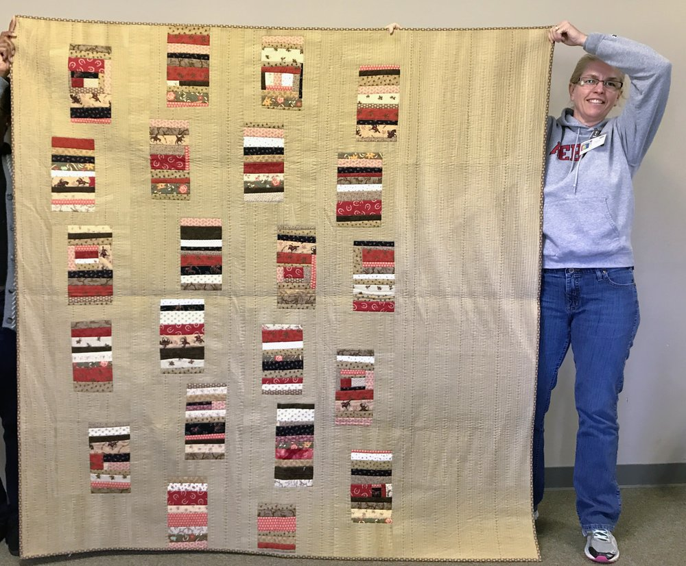 Sara's quilt includes a combination of machine and hand quilting