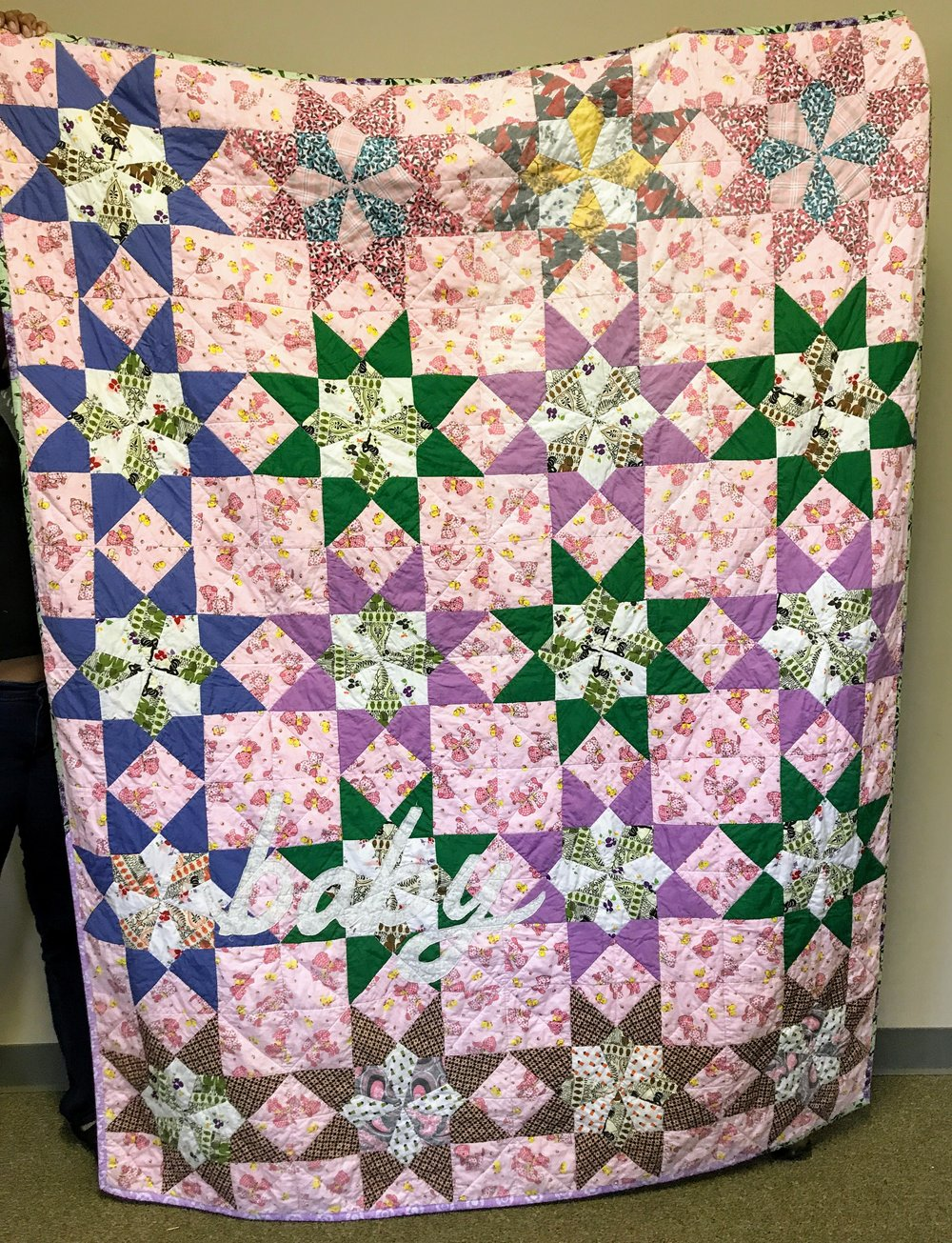 Sherry spruced up this vintage quilt top