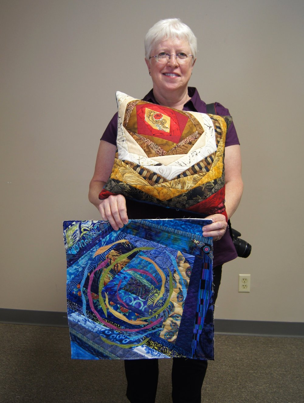 Martha S. made this pillow in a class she teaches; the quilt was inspired by something she saw on Pinterest.