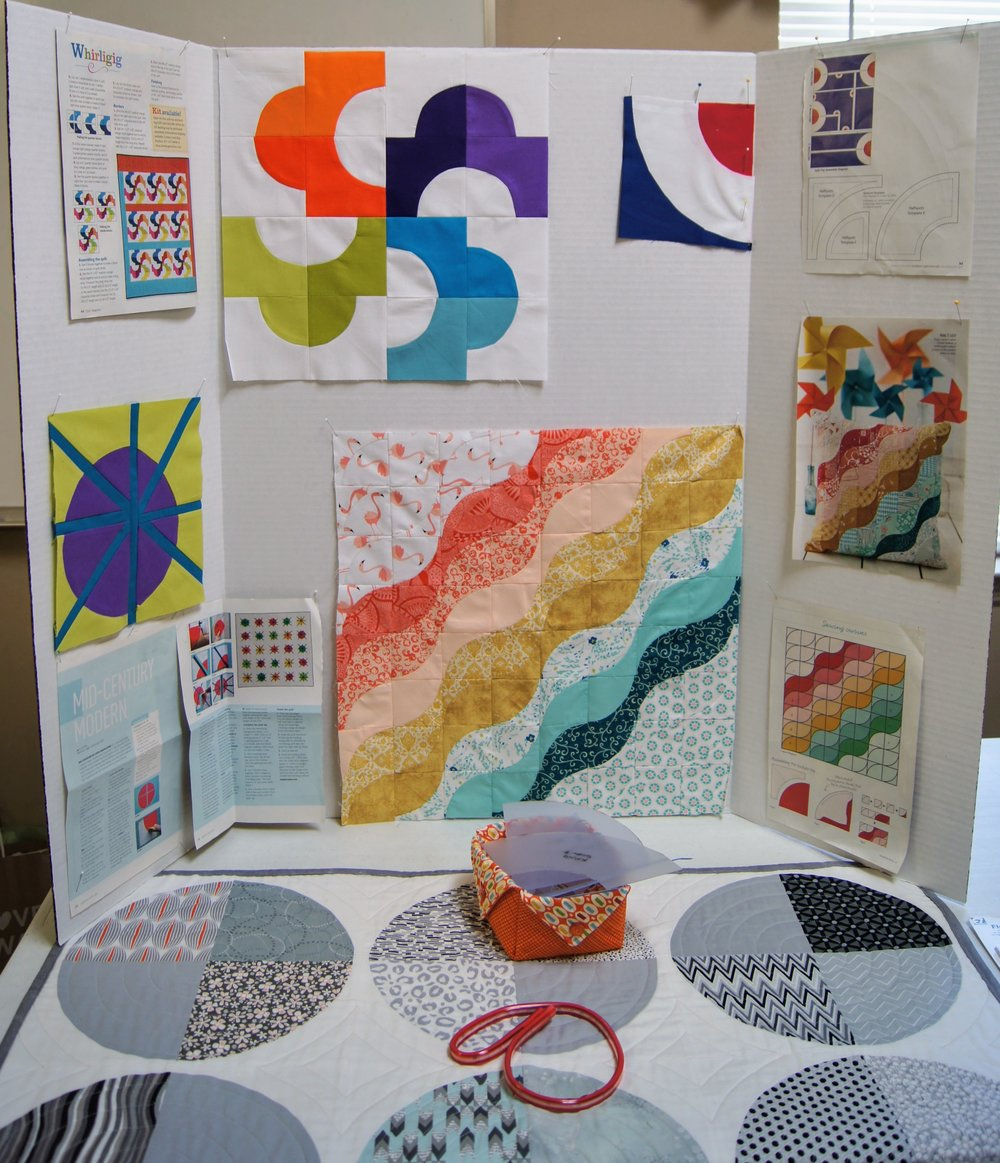 Kate's examples of ways to incorporate curved piecing into larger patterns