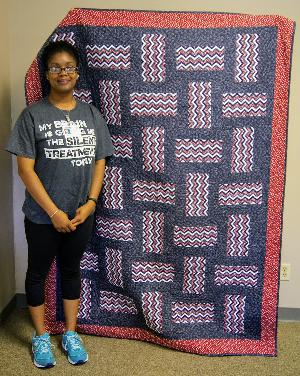 Camille is honored with a Quilt of Valor
