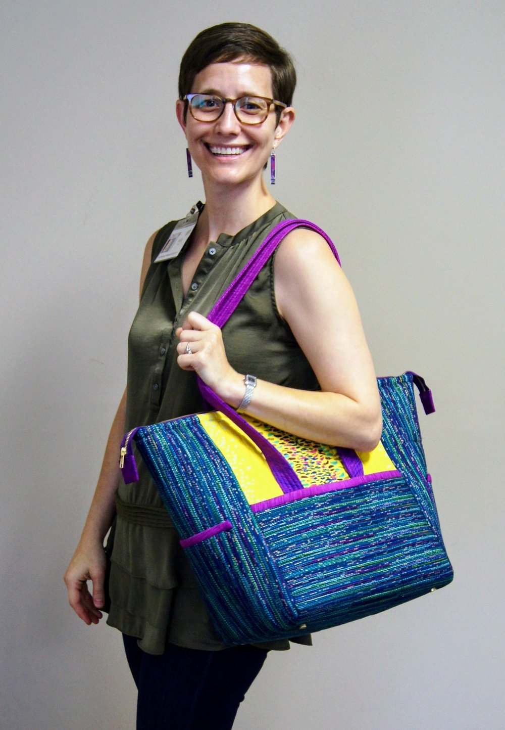 "Kelly and her ""Boxy Tote"" (pattern by Penny Sturges)"