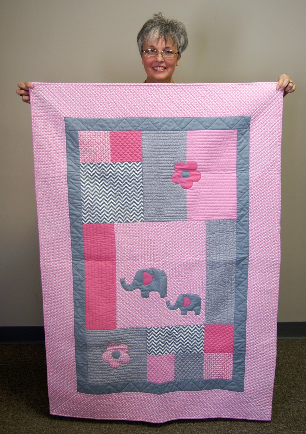 Elephants are pretty in pink on Patricia's baby quilt