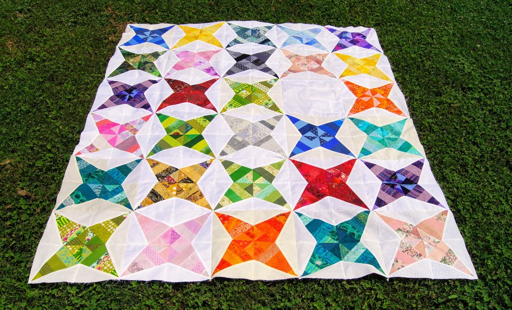 One of two quilt tops completed during the sew-in