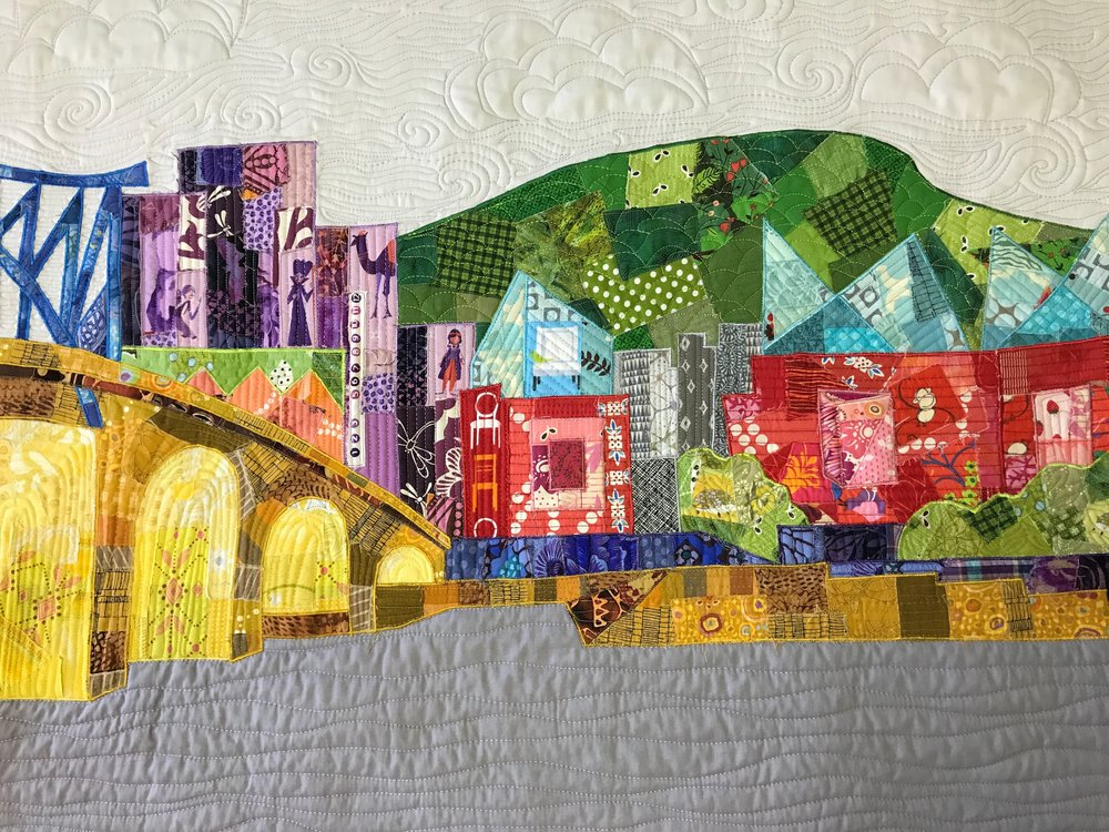 Chattanooga riverfront quilt by Audrey Workman