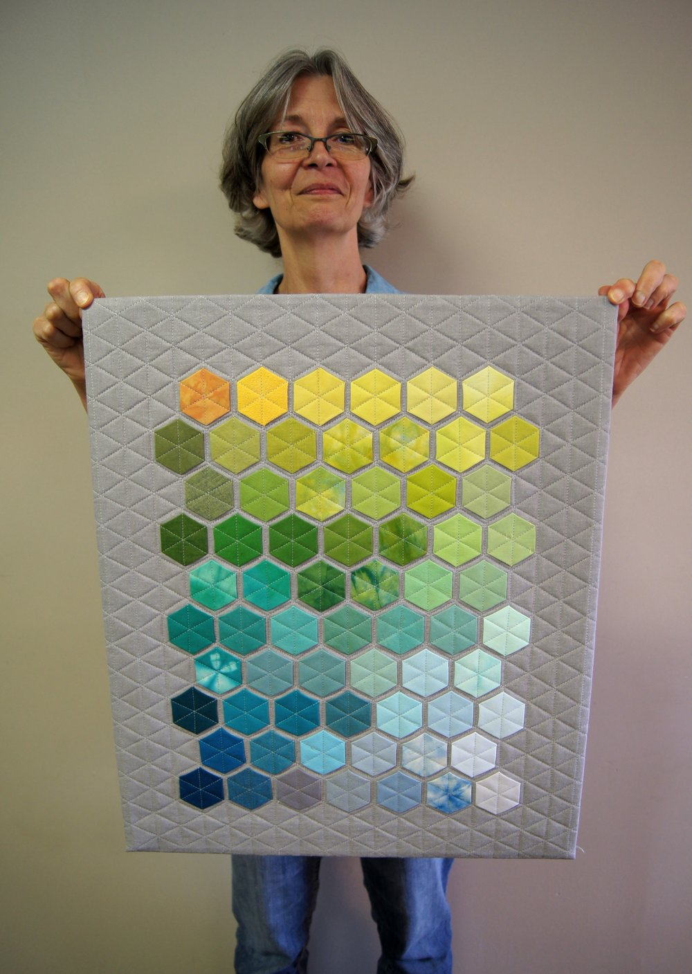 Modern hexie quilt by Audrey Workman