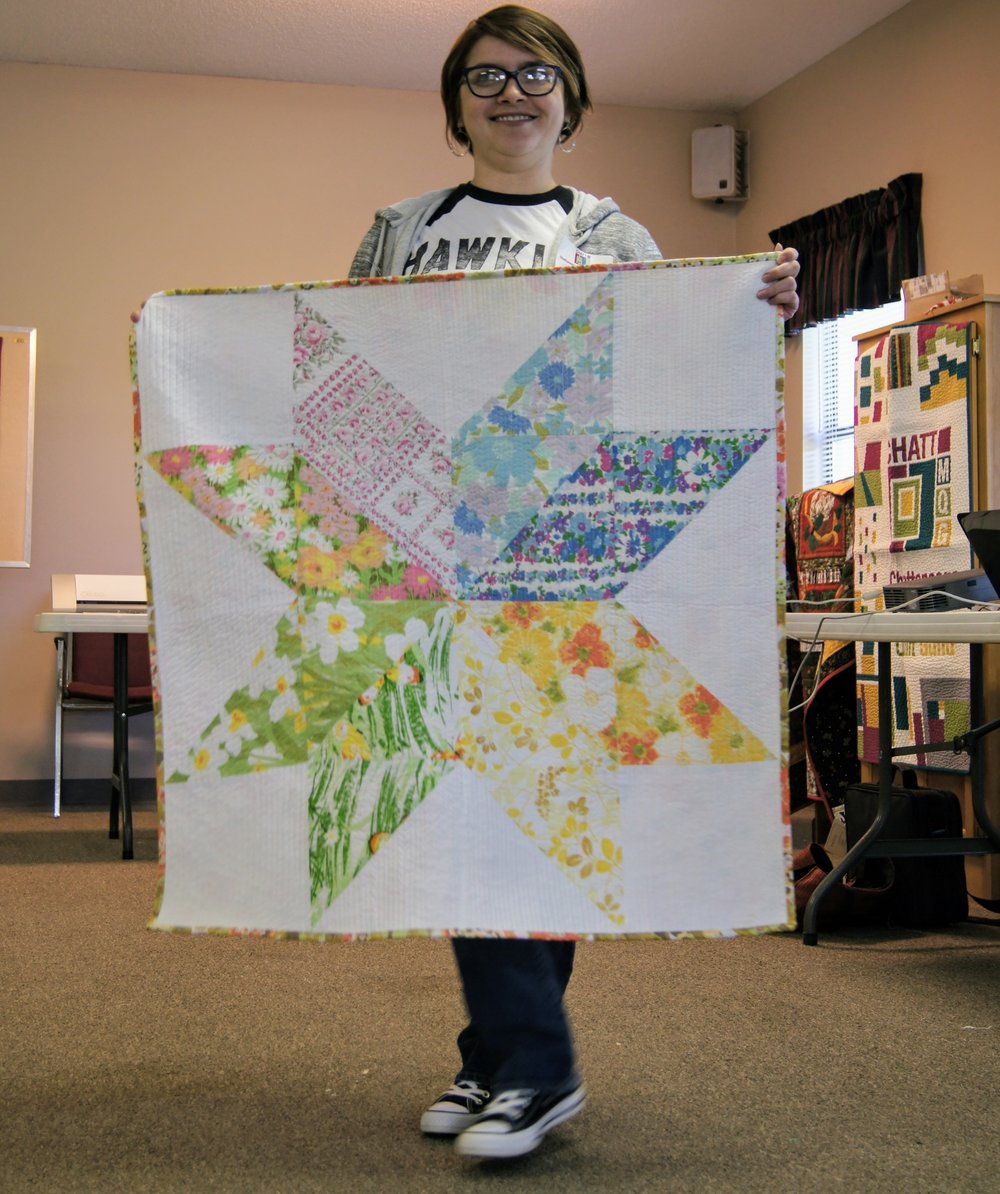 Samantha Eaton made this star quilt with vintage fabrics.