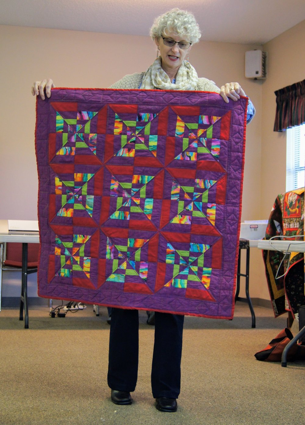 Denise Ohlman finished the quilt she made for her portion of the paper-piecing program.