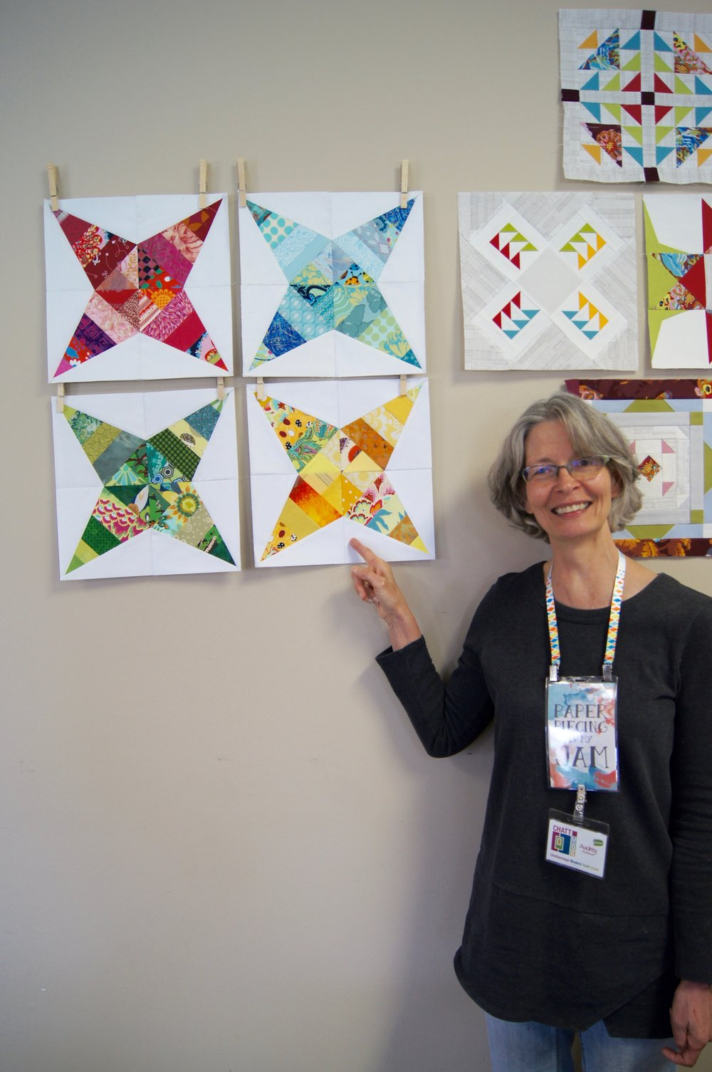 Audrey Workman and her paper-pieced stars.