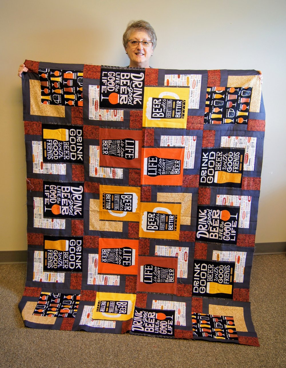 Michele Leonard made this beer-themed quilt for her son.