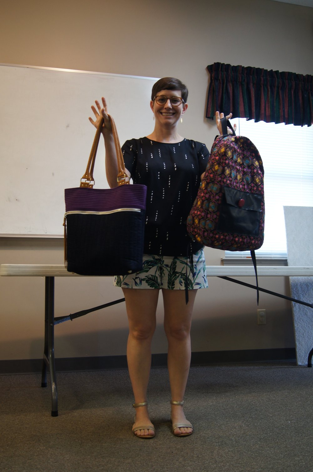 Kelly made a Caravan Tote by Noodlehead (left) and a backpack.