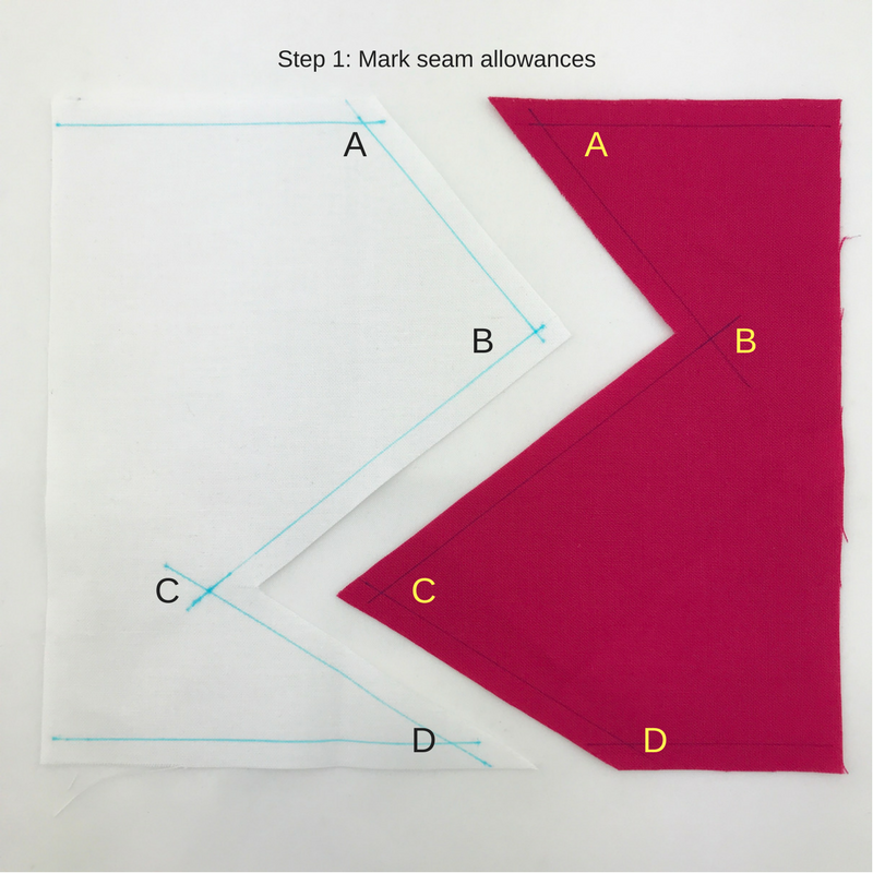 Step 1: Mark seam allowances to determine intersecting points