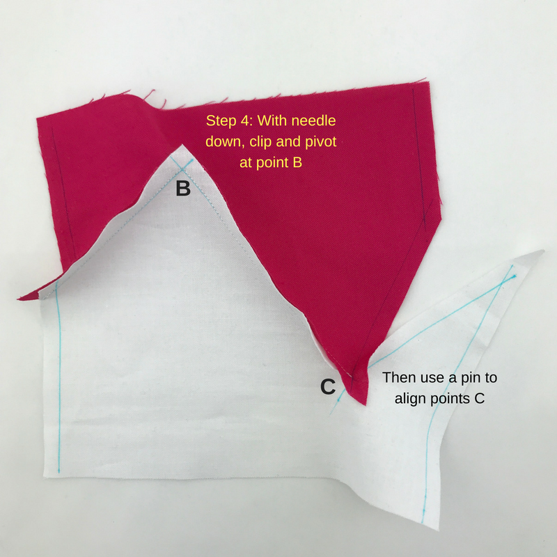 Step 4: At your machine, clip the concave angle of the top fabric (pink) and pivot. Then align points C.