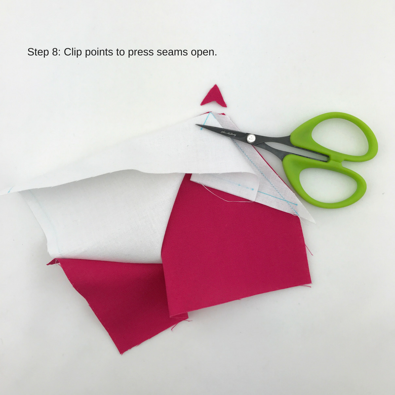 Step 8: Press seams. To press open, clip the points.