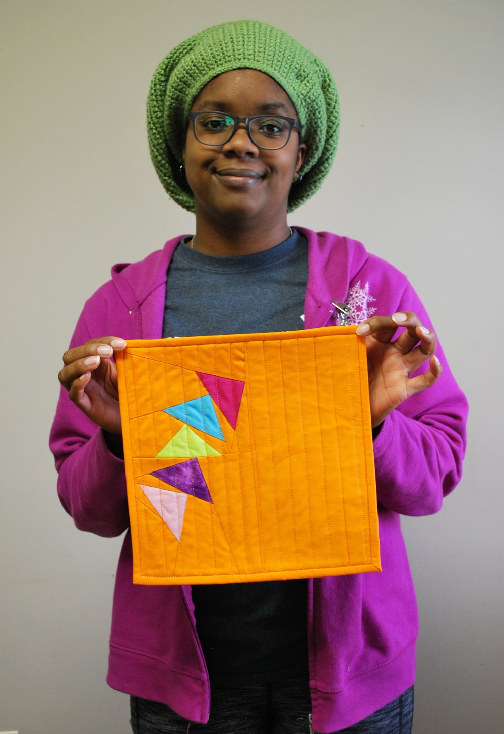 Camille Miller's entry for the latest Curated Quilts mini quilt challenge