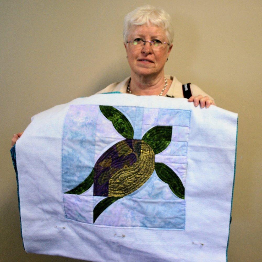 Gorgeous turtle mini quilt by Martha Steele