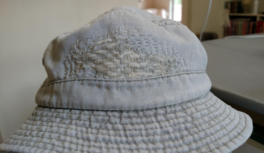 Creative boro stitching extended the life of this fishing hat. Photo by Sara Bradshaw.